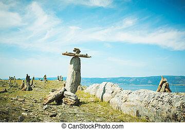 paesaggio, pietre, lago, Baikal