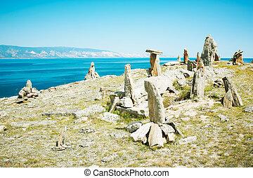 pietre, paesaggio, lago,  baikal