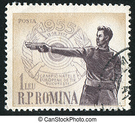 Sharpshooter - ROMANIA - CIRCA 1955: stamp printed by...