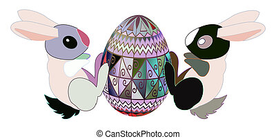 Easter - Two rabbits with chocolate egg. Easter illustration