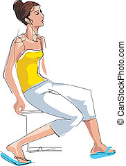 sketch girl sitting on the chair - a sketch girl sitting on...