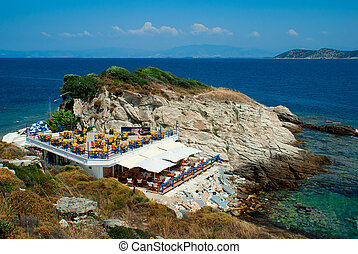 Beautiful cafeteria on the beach, Greece