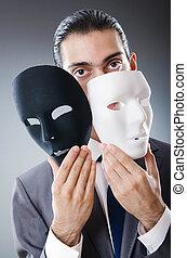 Industrial, espionate, conceito, mascarado, homem...