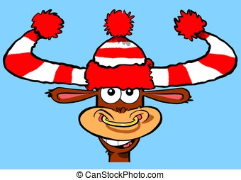 Wooly bully - Cartoon bull in wooly hat.