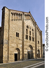 san michele church, pavia - romanesque main facade of the...