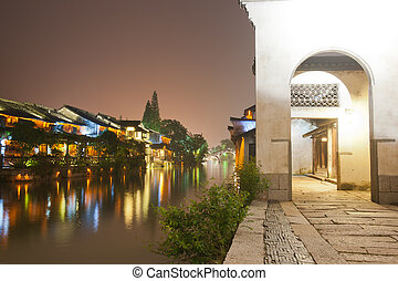 China building night scene