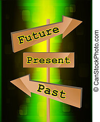 Wood board arrows with future, present and past text, vector...