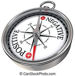 positive negative concept compass - positive negative words...