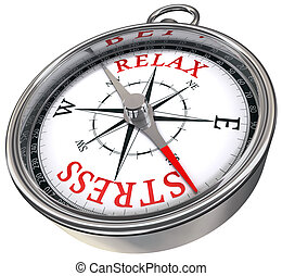 relax stress red words on compass