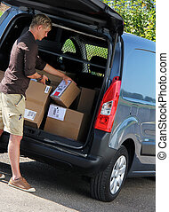 Delivery - Parcel delivery with parcel label barcode...