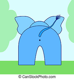 Elephant buttom - cartoon elephant back