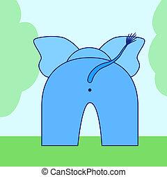 Elephant buttom - cartoon elephant back