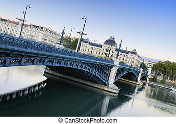 View of Lyon - universities and Rhne river in Lyon, France