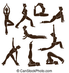 Set of yoga poses - Woman silhouettes in different yoga...