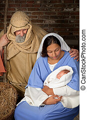 Nativity parents - Live Christmas nativity scene reenacted...