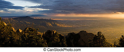 Majestic Desert Sunset Panorama, Albuquerque New Mexico -...