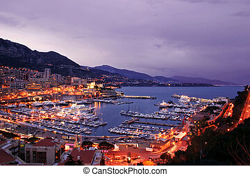 Monaco Harbor at Twilight - Monaco scenic at night including...