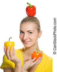 Funny girl with sweet peppers
