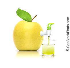 Apple juice - Concept of apple juice-isolated on white...