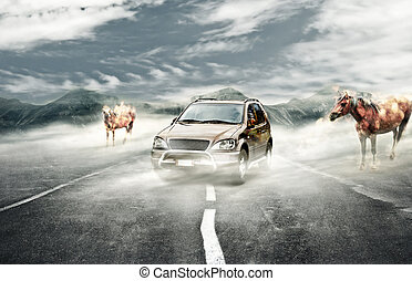 Driving on surreal mist - Surreal landscape with mist a car...