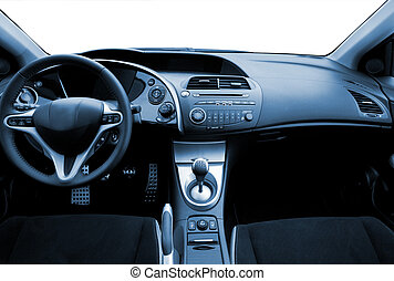 Modern sport car interior toned in blue