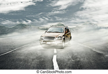 Street fog - 4x4 car on Surreal landscape with fog...