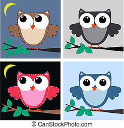 owls - four different owl illustrations