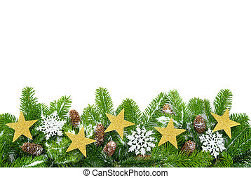 Decorated fir twigs with lots of copyspace