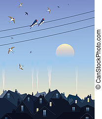 swallows leaving the city - an illustration of a group of...