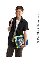 Smiling Student - A smiling teenage student carrying folders...