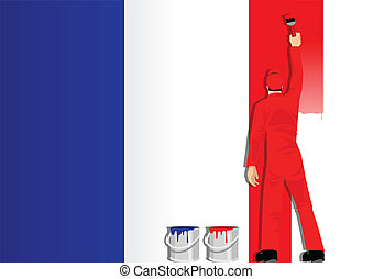 Painting The Flag Of France