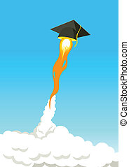 Education Go Further - Square academic cap flying high with...