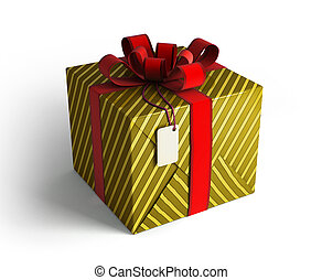 Gift box with red ribbon gold wrap - Gift box with red...