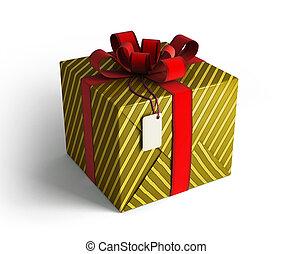 PRESENTE, caixa, vermelho, Fita, Ouro, envoltório