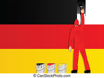Painting The Flag Of Germany