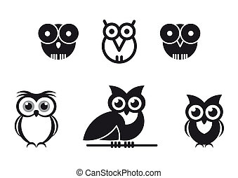 graphic designed owls - set of black graphic designed owls