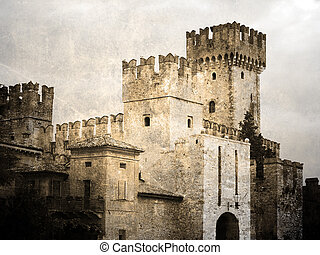 Scaligers castle - Old castle Scaligers. Vintage picture...