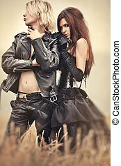 Young goth couple portrait - Young goth couple outdoors...