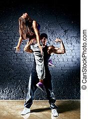 Dancer couple Contrast colors effect