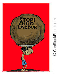 stop child labour - a child carry a big load