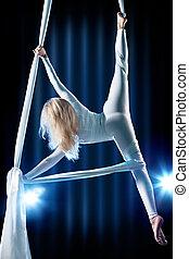 joven, mujer, gimnasta