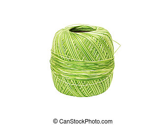 Skein of green wool, isolated on a white background