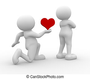 Heart - 3d people - human character - love concept. 3d...