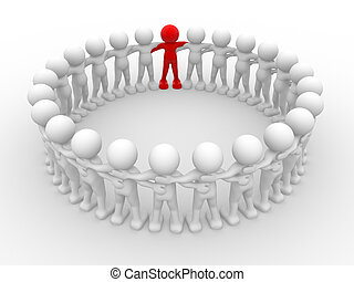 Team - 3d people - human character in circle with...