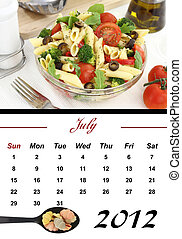 Monthly Pasta Calendar. July 2012