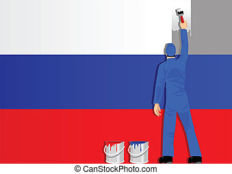 Painting Russia Flag
