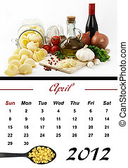 Monthly Pasta Calendar 2012 - Monthly Pasta Calendar April