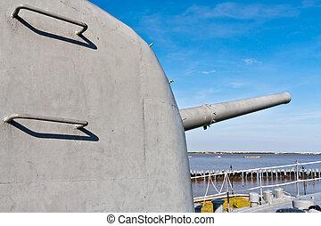 Canon on battleship