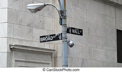 Wall street sign in New York near New York Stock Exchange...