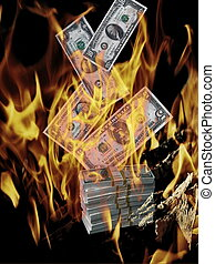 Financial crisis.Burning american money. Apocalyptic view of...